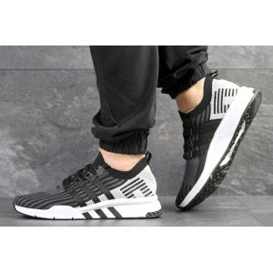 Мужские кроссовки Adidas EQT Support Mid ADV Primeknit черные с светло-серым