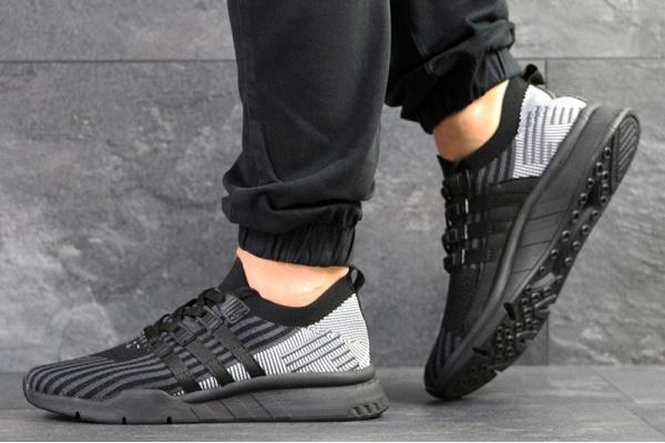 Мужские кроссовки Adidas EQT Support Mid ADV Primeknit черные с серым