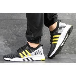 Мужские кроссовки Adidas EQT Support Mid ADV Primeknit черные с светло-серым и желтым