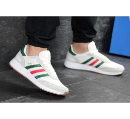 Мужские кроссовки Adidas Iniki белые с зеленым
