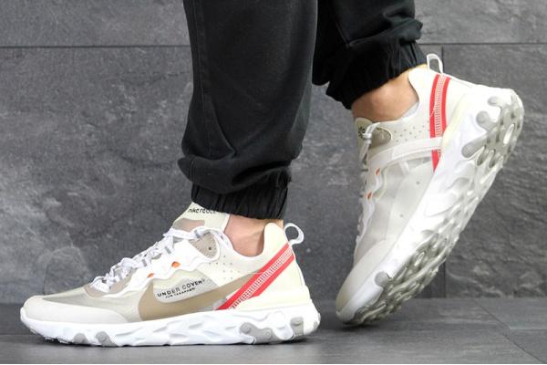 Мужские кроссовки Nike React Element 87 x UNDERCOVER бежевые с красным