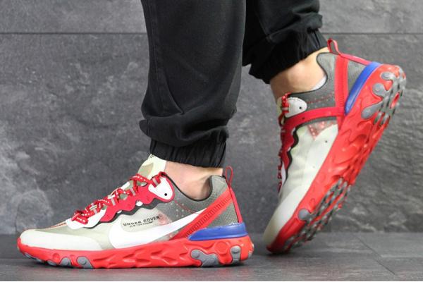 Мужские кроссовки Nike React Element 87 x UNDERCOVER красные с бежевым