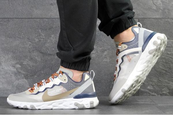 Мужские кроссовки Nike React Element 87 x UNDERCOVER серые с бежевым