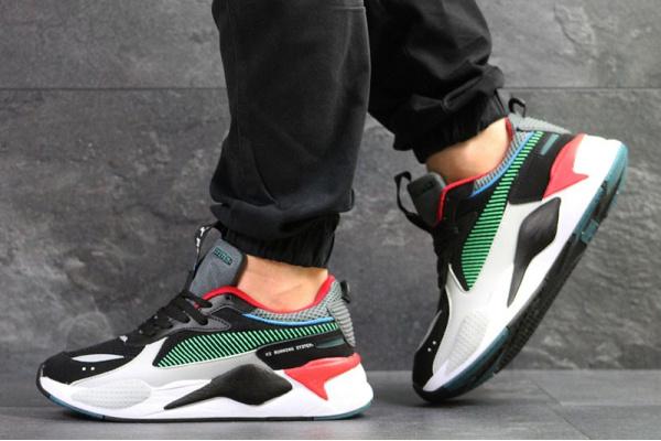 Мужские кроссовки Puma RS-X Reinvention черные с серым и зеленым
