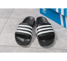 Купить Мужские шлепанцы Adidas черные с белым в Украине