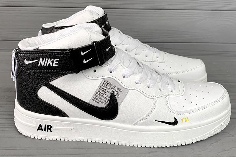4d23d577 Мужские высокие кроссовки Nike Air Force 1 High белые с черным