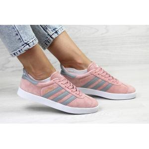 Женские кроссовки Adidas Gazelle розовые с серым