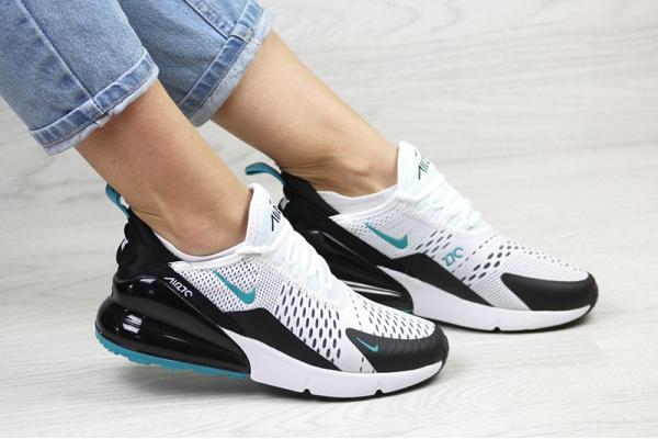 Женские кроссовки Nike Air Max 270 белые с черным и бирюзовым