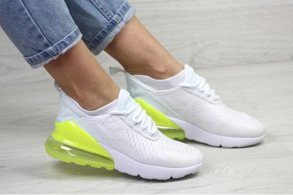 Женские кроссовки Nike Air Max 270 белые с неоновым