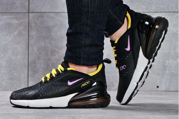 Женские кроссовки Nike Air Max 270 черные с желтым и розовым
