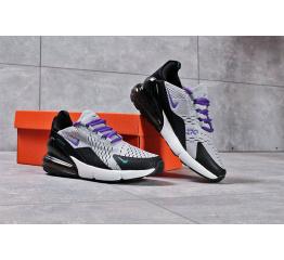 Женские кроссовки Nike Air Max 270 серые с черным и фиолетовым