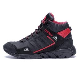 Купить Мужские ботинки на меху Adidas TERREX черные с красным
