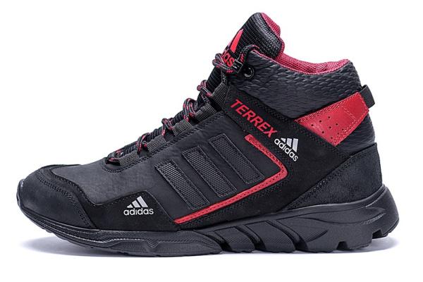 Мужские ботинки на меху Adidas TERREX черные с красным