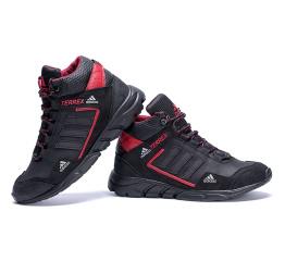 Купить Мужские ботинки на меху Adidas TERREX черные с красным в Украине