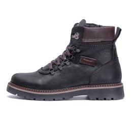 Мужские ботинки на меху черные с коричневым