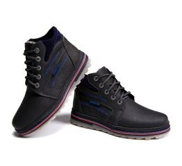 Мужские ботинки на меху черные с синим