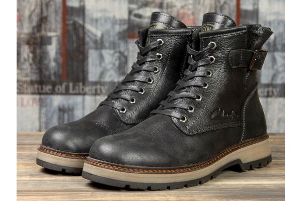 Мужские ботинки на меху Clarks черные