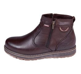 Мужские ботинки на меху коричневые