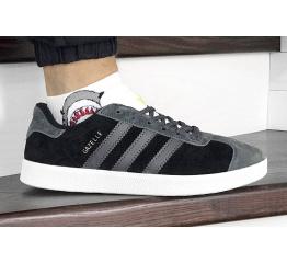 Купить Мужские кроссовки Adidas Gazelle черные с серым