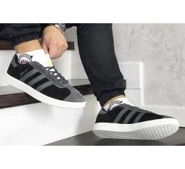 Купить Мужские кроссовки Adidas Gazelle черные с серым в Украине