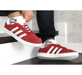 Купить Мужские кроссовки Adidas Gazelle красные с белым в Украине