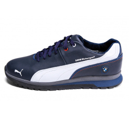 Мужские кроссовки на меху Puma BMW Motorsport темно-синие с белым