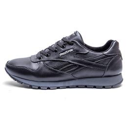 Мужские кроссовки на меху Reebok Classic Leather Fur черные