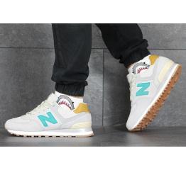 Купить Мужские кроссовки New Balance 574 светло-бежевые с бирюзовым