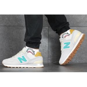 Мужские кроссовки New Balance 574 светло-бежевые с бирюзовым