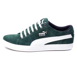 Мужские кроссовки Puma Suede зеленые с белым