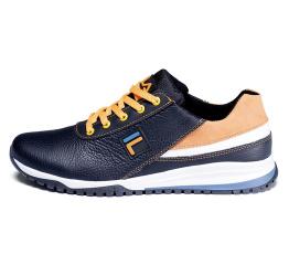 Купить Чоловічі туфлі снікери Fila чорні з білим и желтым