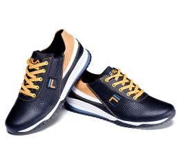 Мужские туфли сникеры Fila черные с белым и желтым