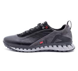 Мужские туфли сникеры Fila черные с серым
