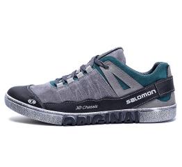 Мужские туфли сникеры Salomon серые с зеленым