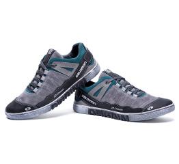 Купить Чоловічі туфлі снікери Salomon сірі з зеленим в Украине