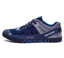 Купить Чоловічі туфлі снікери Salomon сині з сірим