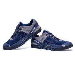 Мужские туфли сникеры Salomon синие с серым