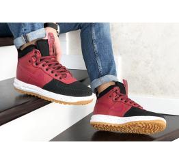 Купить Мужские высокие кроссовки Nike Lunar Force 1 Duckboot красные с черным в Украине