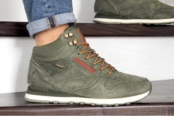 Мужские высокие кроссовки на меху Reebok Classic Leather Mid зеленые