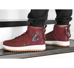 Купить Мужские высокие кроссовки Nike SF Air Force 1 Mid бордовые в Украине