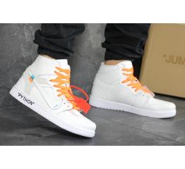 """Мужские высокие кроссовки Nike x Off White Air Jordan 1 """"PYTHON"""" белые"""