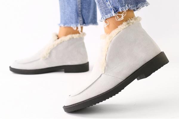 Женские ботинки лоферы на меху серые