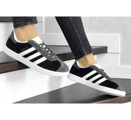 Купить Женские кроссовки Adidas Gazelle черные с серым