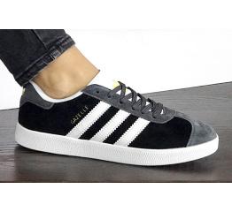 Купить Женские кроссовки Adidas Gazelle черные с серым в Украине