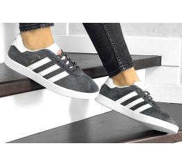Купить Женские кроссовки Adidas Gazelle серые с белым