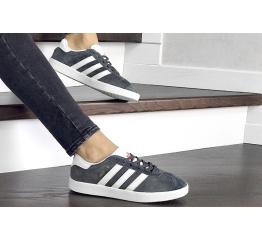 Купить Жіночі кросівки Adidas Gazelle сірі з білим в Украине