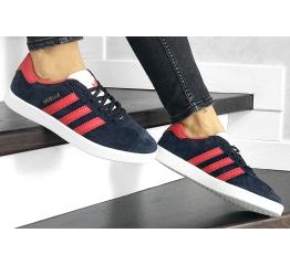 Купить Женские кроссовки Adidas Gazelle темно-синие с красным