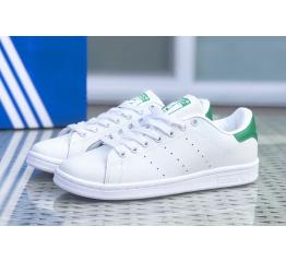 Купить Женские кроссовки Adidas Stan Smith белые с зеленым