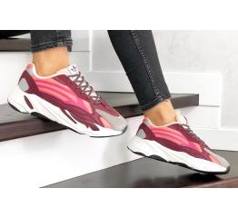 Купить Женские кроссовки Adidas Yeezy Boost 700 V2 Static бордовые с розовым