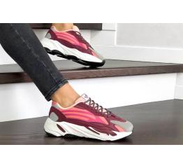 Купить Женские кроссовки Adidas Yeezy Boost 700 V2 Static бордовые с розовым в Украине